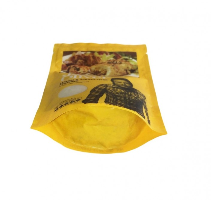 This image is showing the Gusset of a Doy Pack With Re-Sealable Gripper containing herbs and spices