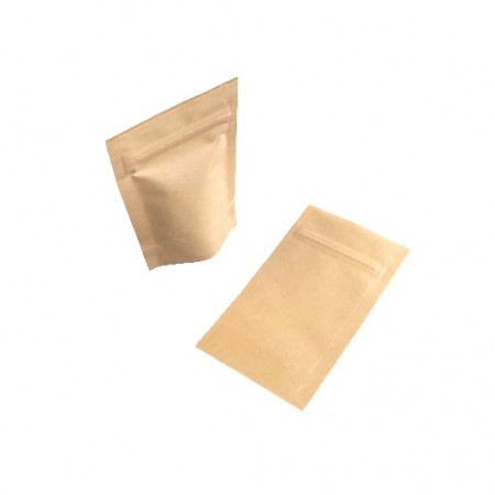 Doy Pack With Re-Sealable Gripper made from a Kraft Paper Laminate