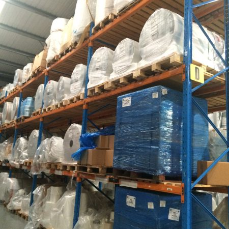Showing racking with stock at the Moore & Buckle warehouse