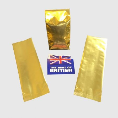 A Side Gusset Bag in Gold with a K Seal that hold approx 250g of coffee