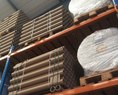 Cores & Jumbo Reels stored in the Warehouse at Moore & Buckle