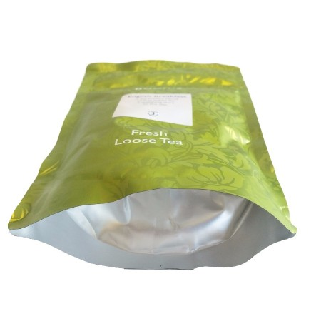 This shows the gusset of a Doy Pack With Re-Sealable Gripper containing fresh loose tea