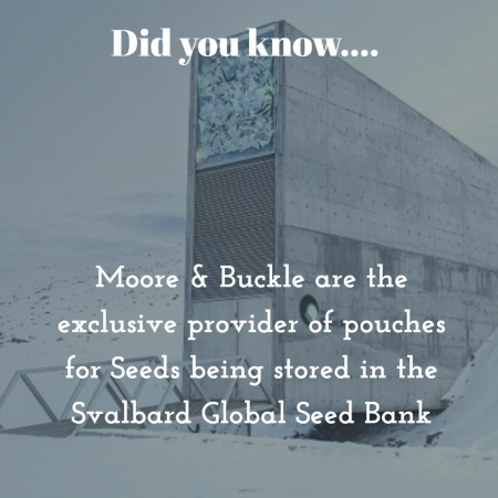 Moore & Buckle are the sole provider of pouches for the Svalbard Global Seed Bank