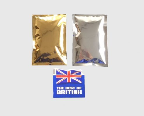 Gold & Silver 3 Side Seal Pouches, UK Made