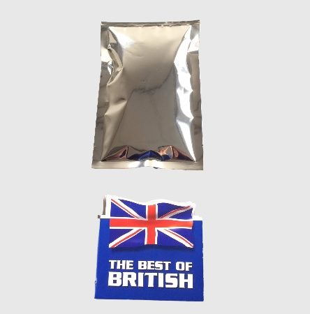 UK Made 3 Side Seal Pouch in Silver with Gold Inside